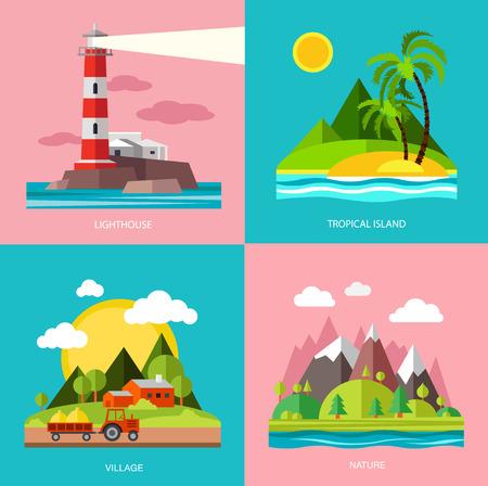 Nature various subjects lighthouse, island, farm, mountain. Vector illustration in flat design style.