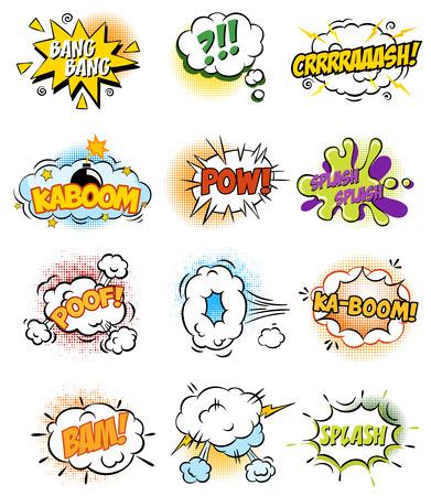 레트로 만화도 서 벡터 디자인 요소, 음성 및 생각 거품 집합