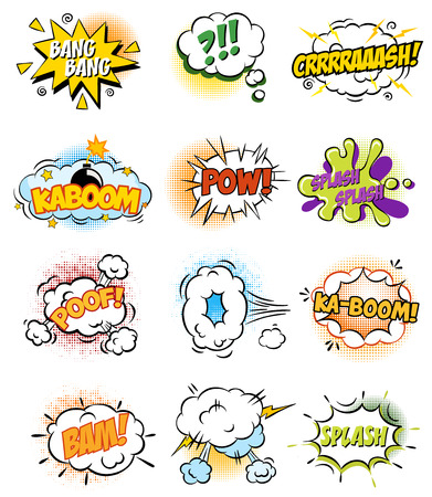 explode: Set of Retro Comic Book Vector Design elements, Speech and Thought Bubbles