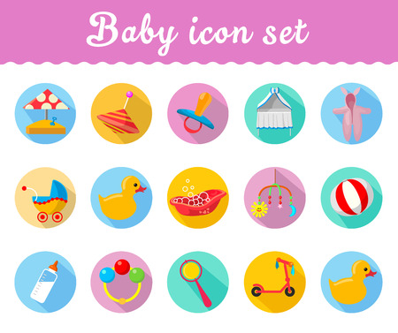 playpen: Baby icons  in a modern style vector Illustration