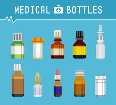 boticário: Super V�rios frascos de medica��o para Fundo M�dico Design Gr�fico plano vector