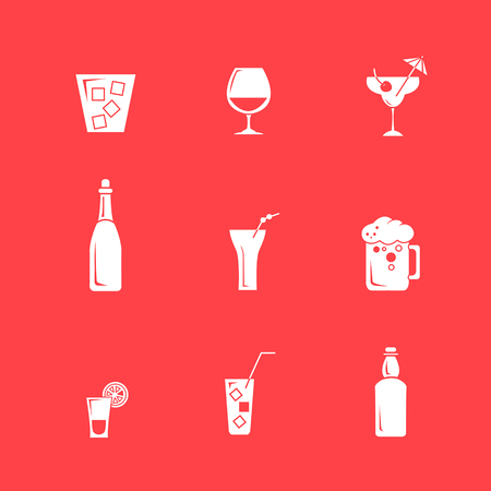 fruit of the spirit: Drink alcohol beverage icons set vector in a simple style on the red background