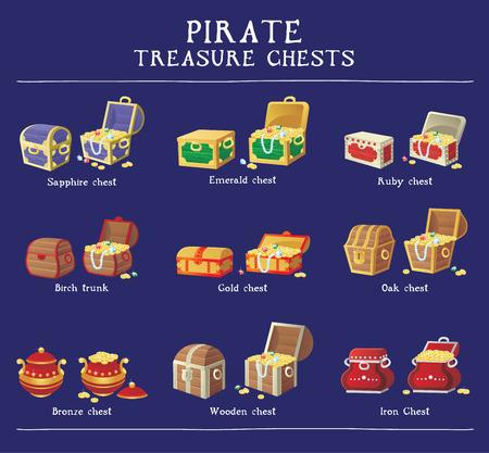 Chest-Set für Spiel-Interface. Vektor-Illustration. Schatztruhe mit Goldmünzen Diamanten Steine Illustration