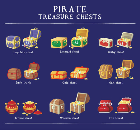 pirate treasure: Chest set for game interface. Vector illustration. treasure chest of gold coins diamonds stones Illustration