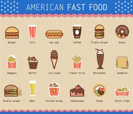 Ilustración del vector de diversos productos alimenticios poco saludables de estilo americano plana