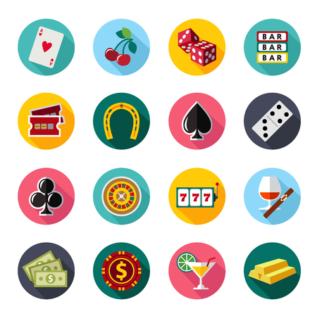 poker: Colorful flat vector icons set. Quality design illustrations, elements and concept. Gambling icons, casino icons, money icons, poker icons. flat style Illustration