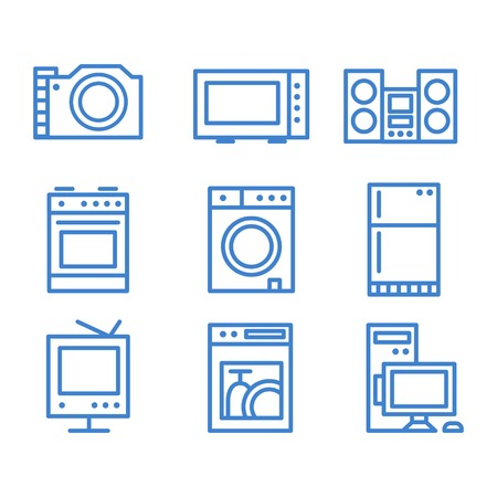 iron fan: Set of household appliances icons modern lines vector