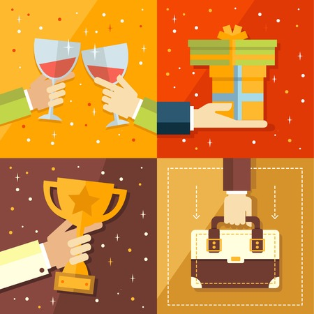 cons: Vector success concepts  bowl, goal, medal, summit cons and illustrations in flat style Illustration