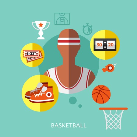 basketball: basketball infographic modern flat style vector illustration icon