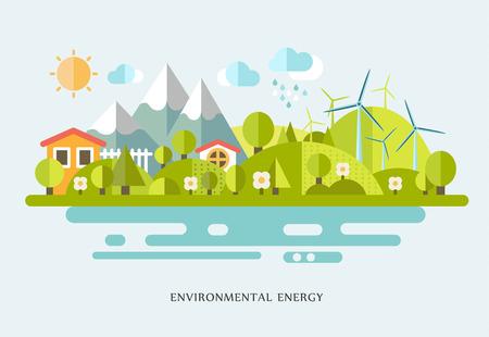 vector illustratie Ecologie infographic elementen plat ontwerp. Eco leven, eco-vriendelijke stad, dorp, landhuis, windmolens