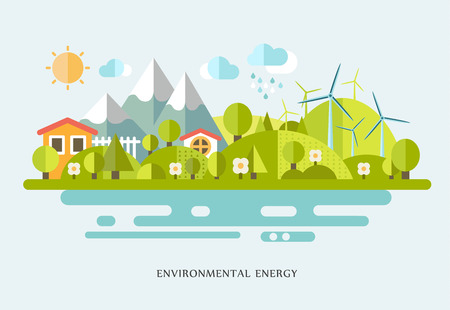 vector illustration Ecology infographic elements flat design. Eco life, eco-friendly city, village, country house, windmills Ilustracja
