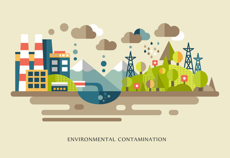 Flat design vector concept illustration with environmental icons environmental pollution, city, factory, smoke, waste, global warming Illustration