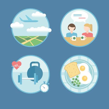 ressources naturelles: Illustration ic�nes vectorielles plat moderne situ� dans le style plat de d�placement, vacances planification, des ressources naturelles, l'�cologie, mode de vie sain. Illustration
