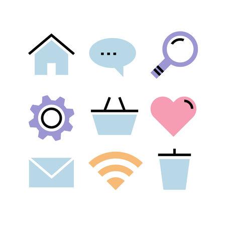 pastel shades: Flat design icons  Communication modern design pastel shades Illustration