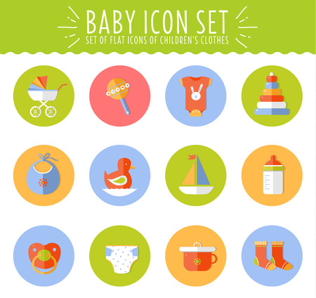baby diaper: Illustration of vector concept flat design cute baby composition with icons Illustration