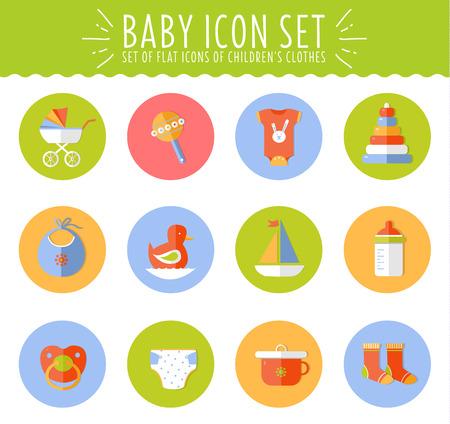 teteros: Ilustraci�n de vector de concepto de dise�o plano composici�n beb� lindo con los iconos