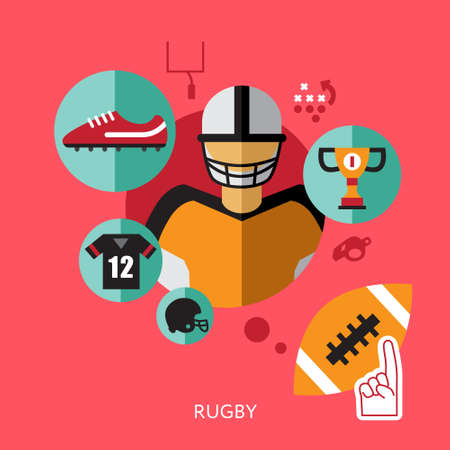 statistic: sport infographics, rugby statistic template flat style