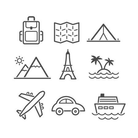 simplus: Viajes y turismo icono conjunto. Serie Simplus. Cada icono es un solo objeto