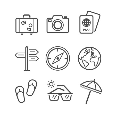 단일 개체: Travel and tourism icon set. Simplus series. Each icon is a single object