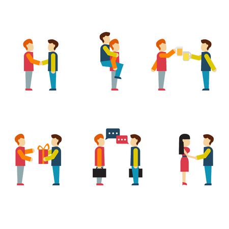 teammate: Friends and friendly relationship flat line icons set with people chatting present party isolated vector illustration modern