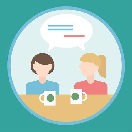dos personas hablando: dos chicas hablando entre s� concepto dise�o plano