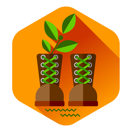travel gear: Flat colorful vector travel gear set shoes, boots. Icon background concept design Illustration