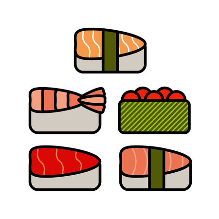 sashimi: Asia food icon set with sushi rolls sashimi noodle miso isolated vector illustration eps8