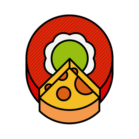 parmesan: illustration of a circle cut off a piece of cheese on white modern concept vector flat style Illustration