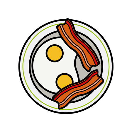 crisp: Eggs and bacon. Four delicious fried eggs and slices of crisp bacon modern concept vector flat style
