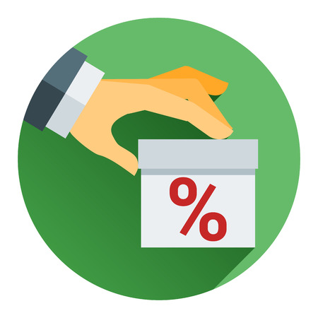 percentage on hand web icon. vector design the modern concept of vector style flat Illustration