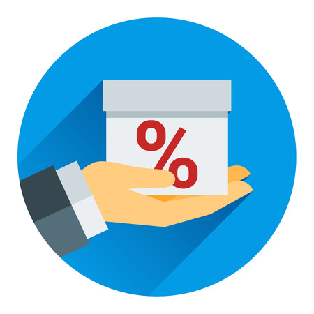 24 off: percentage on hand web icon. vector design the modern concept of vector style flat Illustration