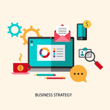 estrategia: Icono de planificaci�n de la estrategia de negocios plana fija con una gesti�n eficaz logrando un estilo moderno objetivo aislado ilustraci�n vectorial