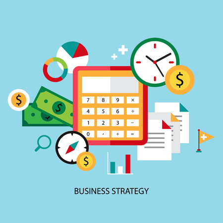 effective: Business strategy planning icon flat set with effective management achieving a goal isolated vector illustration modern style
