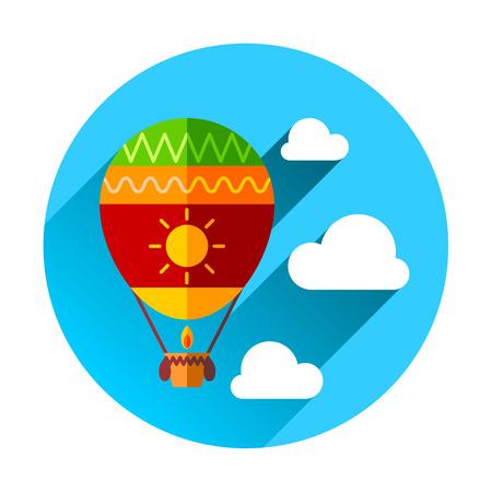 drifting: Hot Air Balloon and Clouds the modern concept flat design