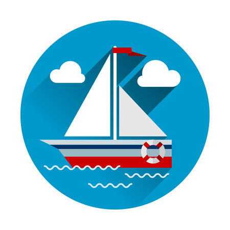 sailboat: Sailboat flat icon with flat design modern concept