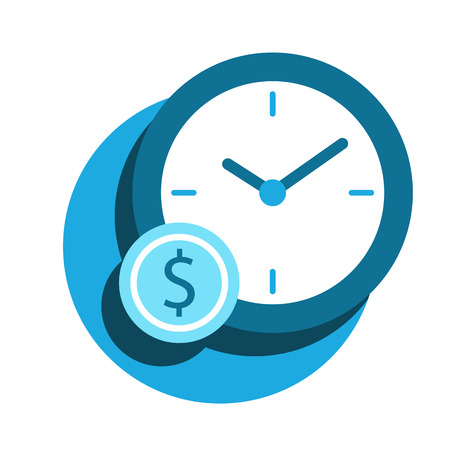 Business Flat Icon flat in a modern style, time is money