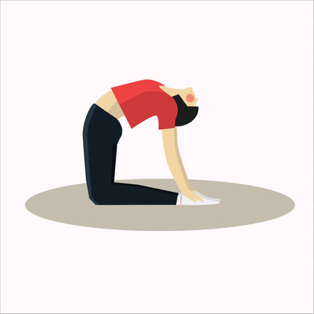 energy balance: Vector illustration of Yoga pose woman silhouette flat in a modern style vector