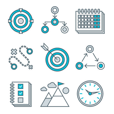 competitive advantage: Flat line icons set of competitive advantage solution, business gamification elements, winning strategy ideas, motivation, achievement. Modern trend design vector concept. Isolated on white background Illustration