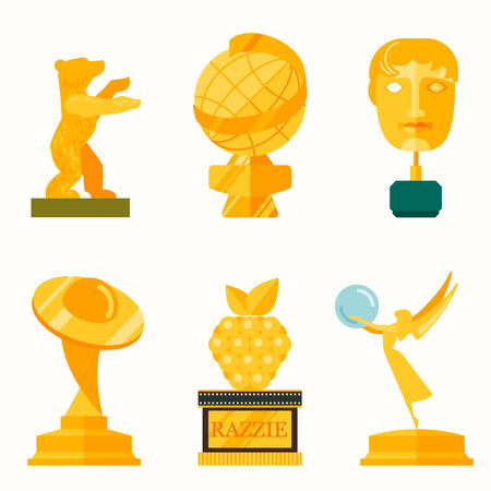 statuette: illustration of lady statue trophy on white background icon flat