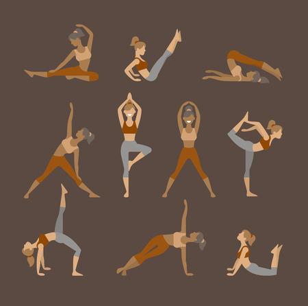 bhujangasana: Colored yoga set icons isolated on white background. Female silhouette, flat icon Illustration