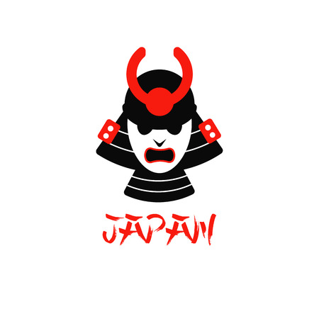 ronin: illustration of isolated samurai mask on white background flat design logo