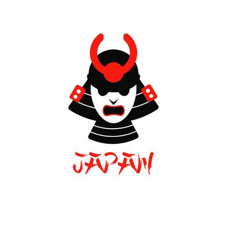 daimyo: illustration of isolated samurai mask on white background flat design logo