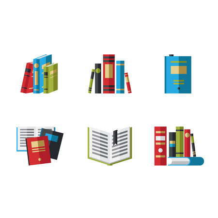 handbook: Set of book icons in flat design style vector illustration