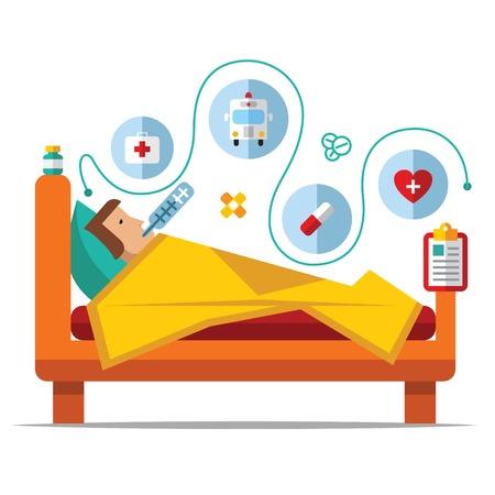 hospitales: Hombre enfermo que est� en la cama y tomando thermometer.Vector plana