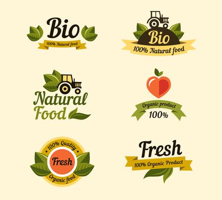 logo de comida: Conjunto de elementos de estilo vintage para etiquetas y escudos de los alimentos y bebidas org�nicas