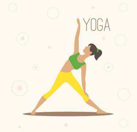 Vector illustratie van de yoga. Yoga set. Yoga-oefeningen. Vrouwen yoga. Yogales, yoga centrum, yoga studio. Yoga poster. Schetsen met yoga asana. Meisje doet yoga-oefeningen. Gezonde levensstijl.