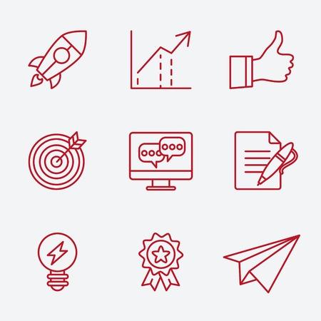 marktforschung: Flache Linie Icons Set von kleinen Unternehmensplanung Entwicklung, Inbetriebnahme Schl�sselelemente, Strategie L�sung, Marktforschung, Markenidentit�t und Unternehmensvision. Modernes Design-Stil Vektor-