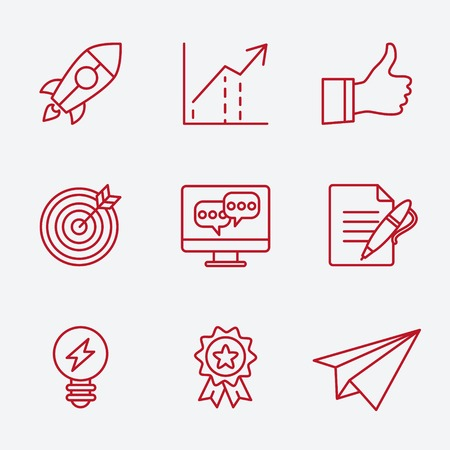 new opportunity: Flat line icons set of small business planning development, startup key elements, strategy solution, market research, brand identity and company vision. Modern design style vector Illustration