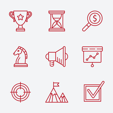 icons business: Flat line icons set of small business planning development, startup key elements, strategy solution, market research, brand identity and company vision. Modern design style vector Illustration