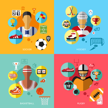 sedentary: Physical activity flat set of extremely vigorously moderately active vector illustration football, hockey, basketball, rugby Illustration